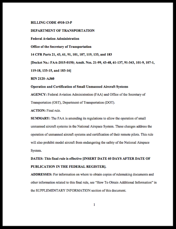 FAA final rule on UAS