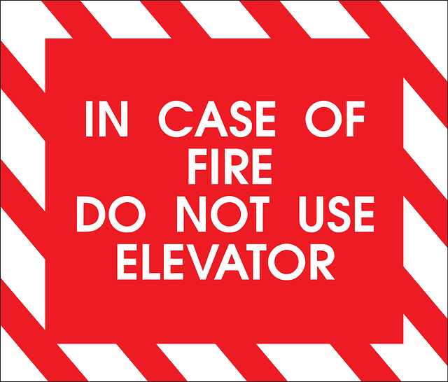 fire and elevator sign