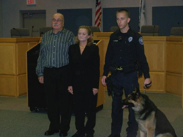 Owens' Family with K-9 Urich