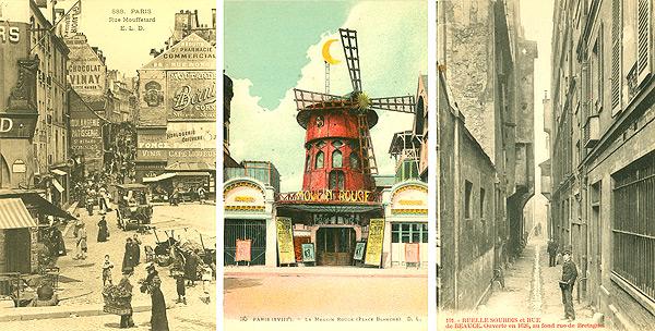 triptych of three Paris postcards
