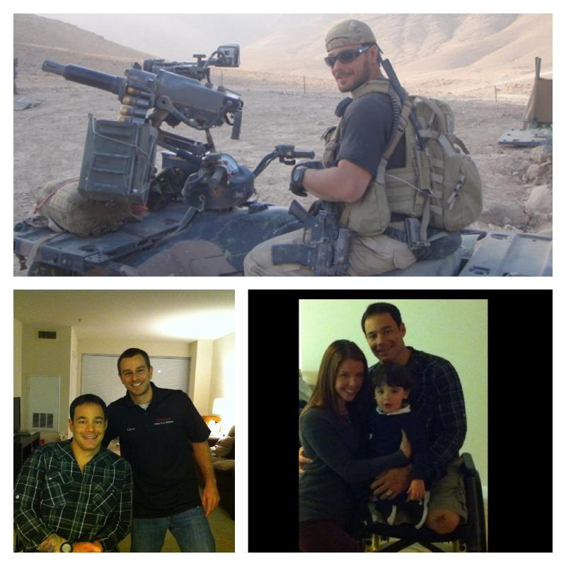 (Pictured, top Cpt Ben Harrow while deployed; bottom left Cpt Harrow with Operation Once in a Lifetime Board Member Mike Edison; bottom right Cpt. Ben Harrow with his wife and son)