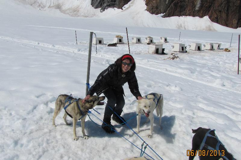 Dr Sheila Collins Dancing with sled dogs
