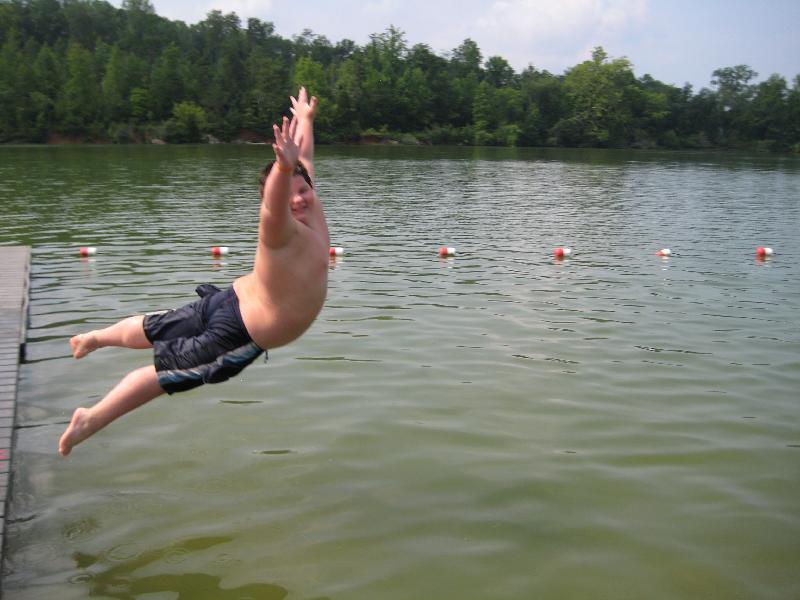 Kid doing a bellyflop