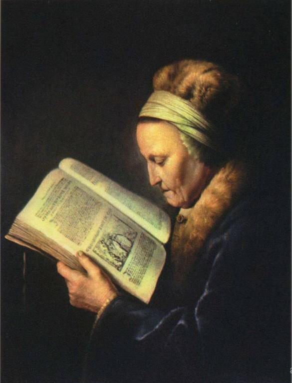 Painting of Rembrandt's mother reading the Lectionary