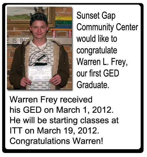 Warren Frey, first GED graduate at Sunset Gap