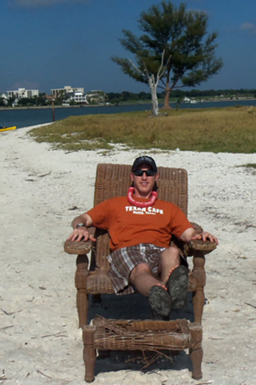 Steve Scheffler on the beach in Florida