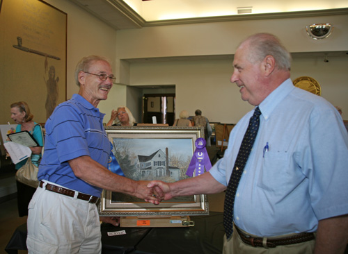 Freeholder Thornton (r) with John Shoap, 72, 1st Place and Best of Show