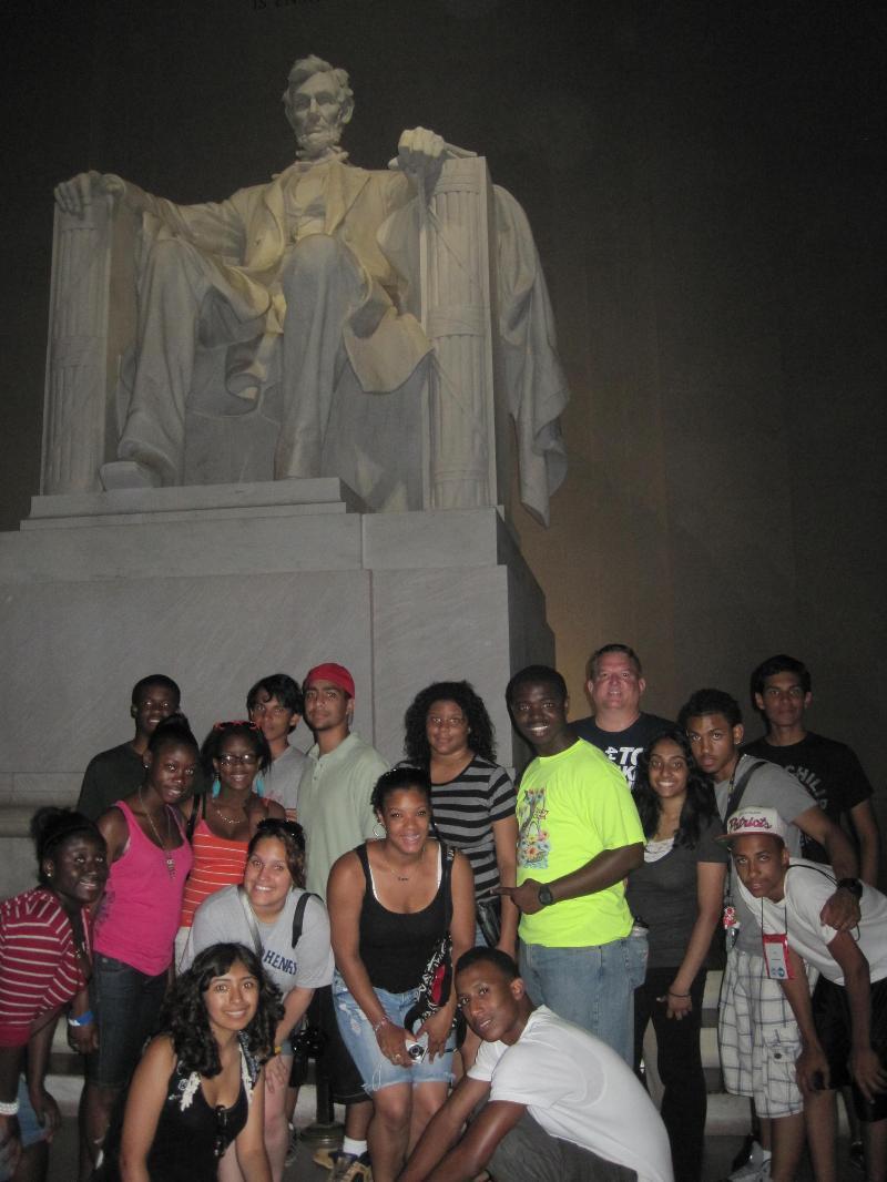 at Lincoln memorial