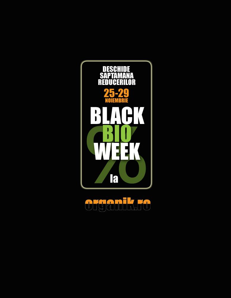 Black Friday la Organik.ro se numeste Black Bio Week si dureaza o saptamana. Peste 350 de articole cu discounturi intre 15 si 40%. Oferta este valabila in limita stocului