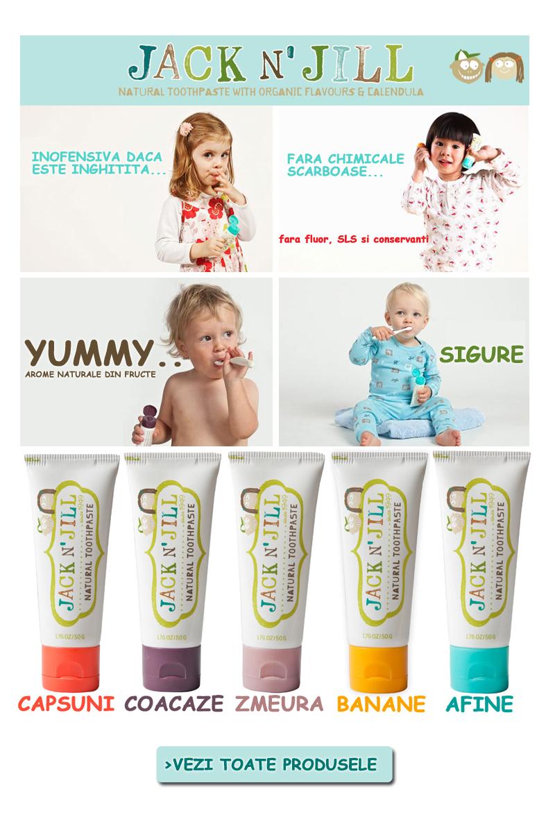 Paste de dinti bebe si copii cu fructe.Periute de dinti bebe si copii Jack n Jill