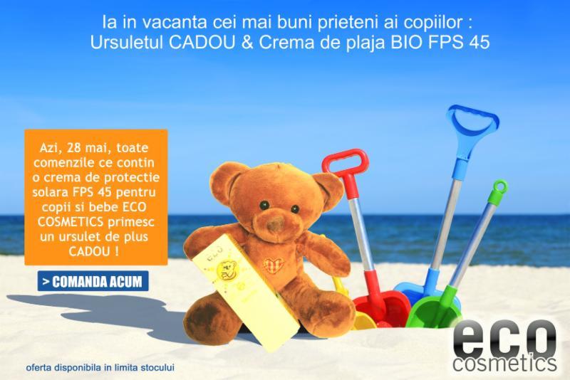 Crema de plaja bio bebe si copii FPS45+ CADOU Ursulet de plus - Eco Cosmetics