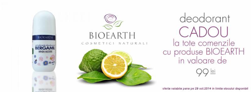 Pana pe 29 octombrie primesti un Deodorant natural Cadou pentru toate comenzile ce contin produse Bioearth in valoare de 99 lei