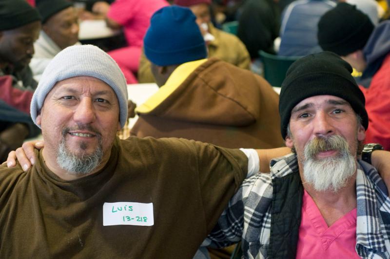Two men at emergency shelter