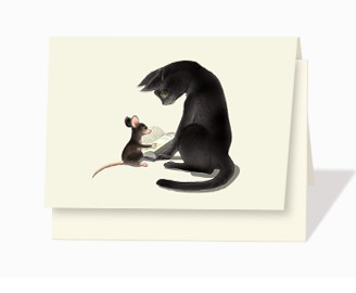 Mouse and cat notecard