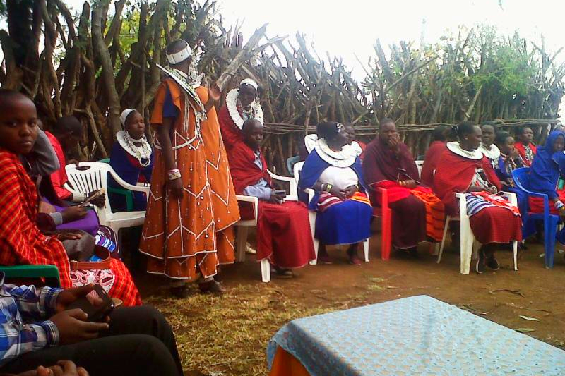 Maasai women organizing