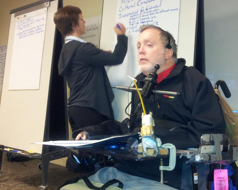 Dennis Heaphy leads DAAHR seminar while Colleen Graham takes notes