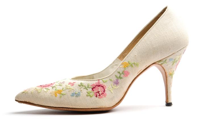 1960s linen stilettos