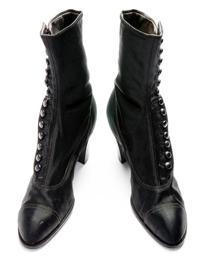 black satin high-button shoes c 1916