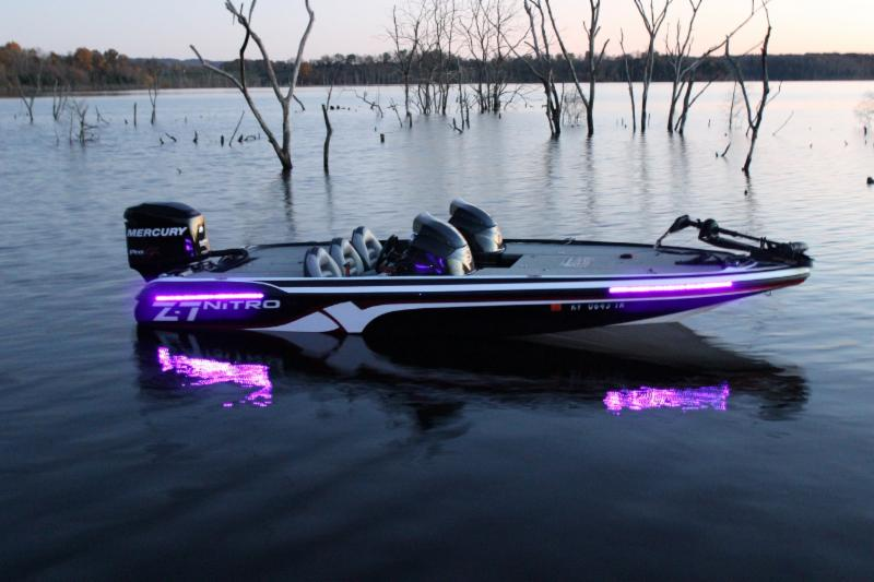 Bass boat high output uv blacklight led light kit lifetime for Cool fishing boat accessories
