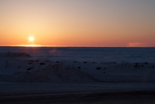 A Sundog seen from the Top of the World Hotel in Barrow, Alaska!