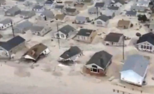 sand filling streets at the shore