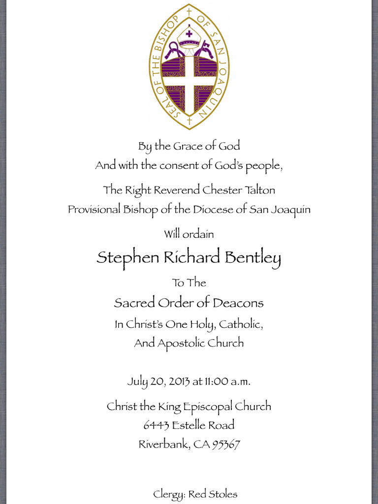 Ordination Stephen Bentley