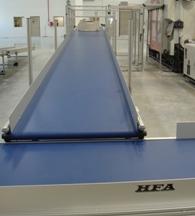 Robot receiving conveyor to trunk line