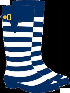 Dark Blue & White Striped  Rain Boot