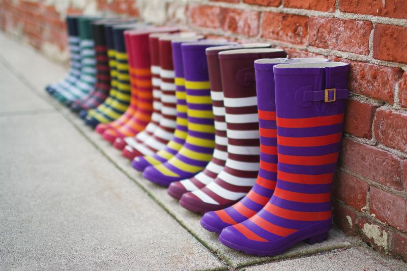 Striped rain boots from Lillybee