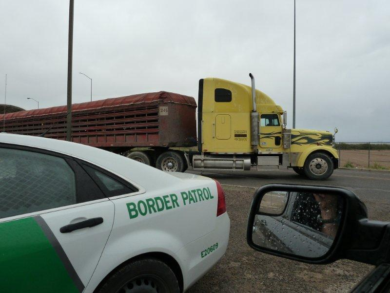 truck turned around at border