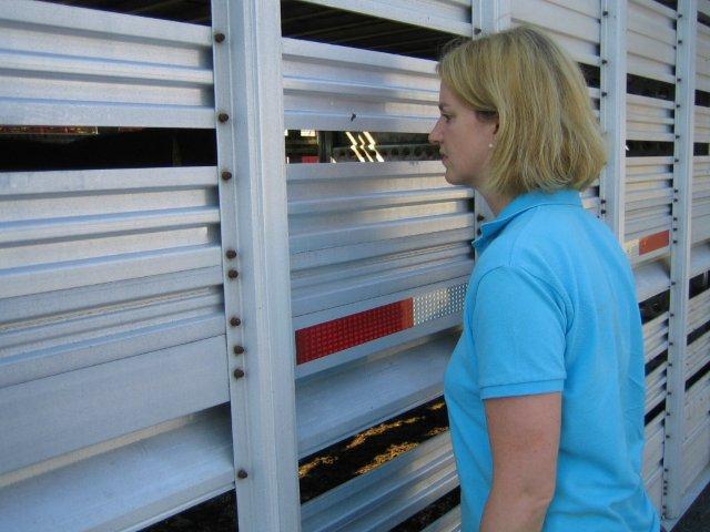 sonja inspecting trailer