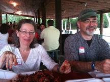 Sue and Mark enjoying crawfish