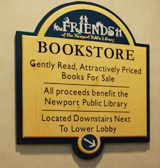 Friends of Newport Library Bookstore sign