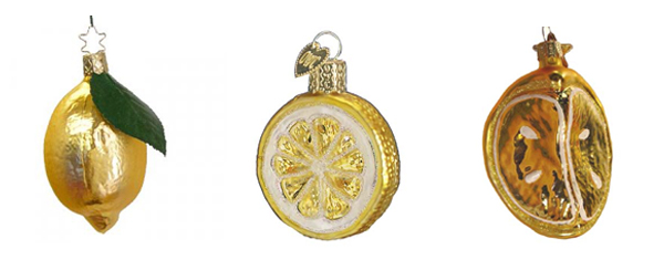 3 lemon ornaments