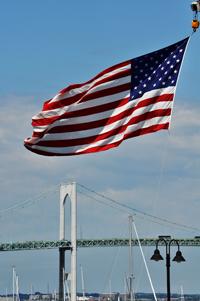 Newport Bridge + Flag