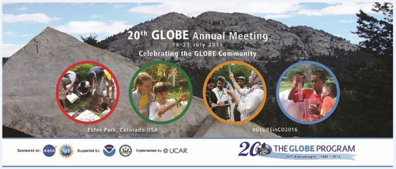 Banner promoting the GLOBE Annual Meeting showing mountains in the background and circles in the foreground showing images of students and teachers performing GLOBE protocols.