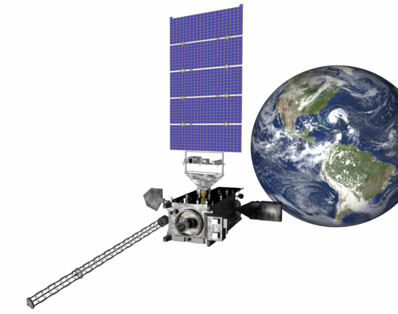 An illustration of a satellite at Earth with a white background.