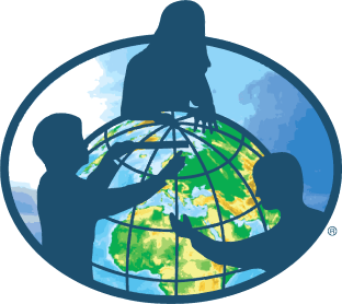 GLOBE logo: The silhouettes of three children surround a globe of the Earth.