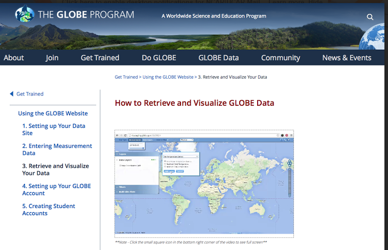Screen grap of the GLOBE.gov site