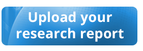 "A blue-button graphic saying in white lettering ""Upload your research report."""