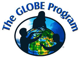 Logo for the GLOBE program showing the silhouettes of children gathered around a globe of the Earth.