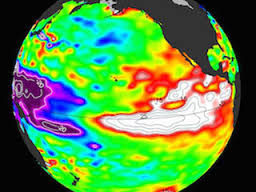 A view of the Earth showing El Niño effects on the globe.