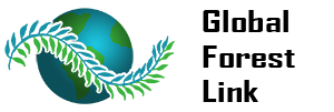 "A logo showing a globe of Earth with a tree branch with the words: ""Global Forest Link."""