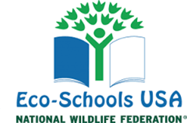 "The words ""Eco-Schools USA: National Wildlife Federation"" with a tree illustration within an open book."