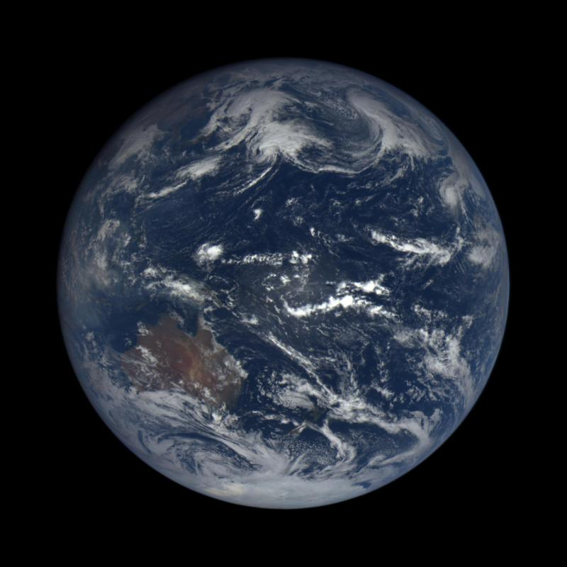 The Earth as viewed from space (a sphere).