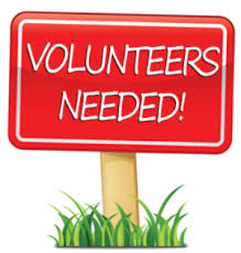 "An illustration of a lawn sign stating: ""Volunteers Needed!"""