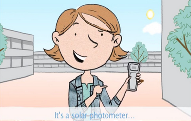 Cartoon of a girl outside holding a device.