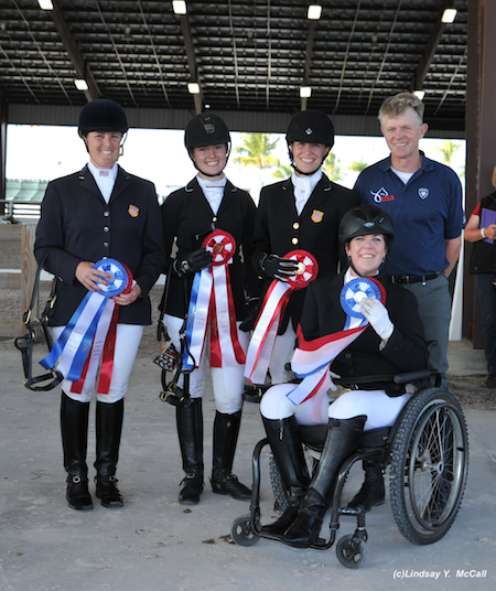 USA Para-Dressage Team at the Adequan Global Dressage Festival CPEDI3* March 15, 2014. (Left to Right: Mary Jordan (Grade IV), Angelea Peavy (Grade III), Rebecca Hart (Grade II), Chef D'Equipe Kai Handt, and Roxanne Trunnell (Grade Ia). Photo by Lindsay McCall.