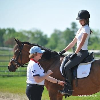 Hanneke Gerritsen (FEI 5* Para-Dressage judge)  works with Elle Wooley. Photo by Lindsay Y. McCall