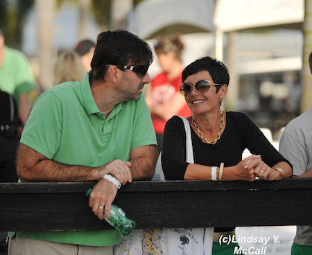 Angela Peavy's parents enjoying the Para-Dressage preview at the Adequan Global Dressage Festival CPEDI3* in Wellington, FL. Photo by Lindsay McCall